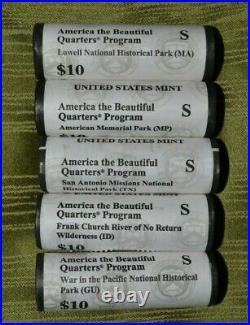 2019 S 5 UNC US Mint Roll Complete Set America The Beautiful Quarters