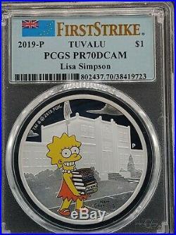 2019 Simpsons (5) Complete Silver 1oz Set PCGS PR70 Maggie Lisa Bart Homer Marge