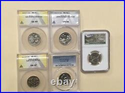 2019 W Quarter Unc Mixed Graded Ms 65 Complete 5 Coin Set 3-anacs 1-ngc 1-pcgs