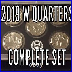 2019 W Quarters Uncirculated (5 Complete Set) Rare, Low Mintage
