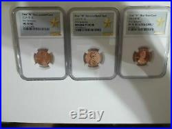 2019-w Complete 3 Coins West Point Lincoln Cent Set Ngc Ms70, Pf70, Rp70 Star