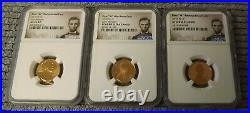 2019-w Complete West Point Lincoln Cent 3 Coin Set Ngc Pf69, Rpf69, Ms69