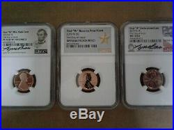 2019-w Complete West Point Lincoln Cent Set! Ngc Perfect 70 (3) Coin Set! + Box