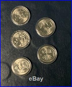 2019-w Quarters Complete Set All 5 In Capsules Uncirculated