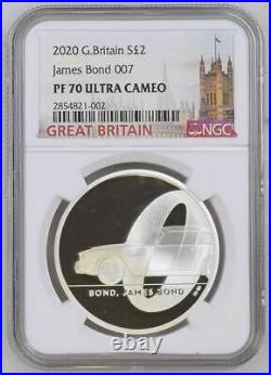 2020 UK £2 JAMES BOND Complete Set of 3 1oz Silver Proof Coins NGC PF70 UC