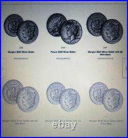 2021 Morgan & Peace Dollar Complete 6 Coin Set Cc, O, D, S, P, P Pre Sale Confirmed