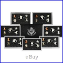 7-pc. 1992 1998 US Mint Silver Proof Sets Complete Black Pack Collection