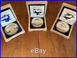 999 Silver Kilos Bahamas Whales Of The World 1993,1994,1995 COMPLETE SET! Rare