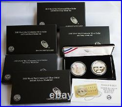 ALL Five 2018 WWI Silver Dollar and Silver Medal Set 5 Coins 5 Medals Complete
