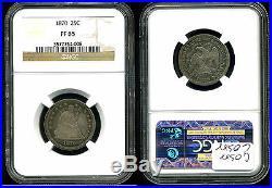 A Complete and Original 10-Piece 1870 U. S. Mint Proof Set PF64-PF65 NGC CAC