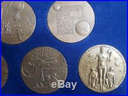 Apollo 11-17 Space Medals-complete Bronze Set High Relief Medallic Art Co Rare