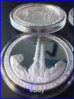Apollo 11 COMPLETE 8-COIN SET 1oz Each. 999 Fine Silver Proof Like Lot # 3594