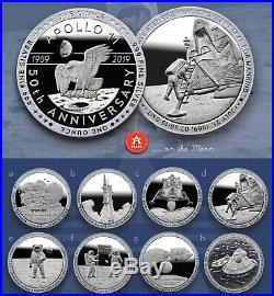 Apollo 11 COMPLETE 8-COIN SET Each 1oz. 999 Fine Silver Proof Like PRE-SALE