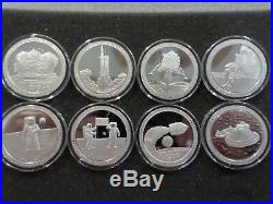 Apollo 11 Silver 1 oz Proof-Like Complete 8 Coin Set (Random Serial Numbers)