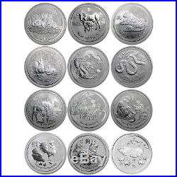 Australia 2008-2019 Complete 12-Coin Collection Lunar Zodiac Pig 1 Oz Silver Set