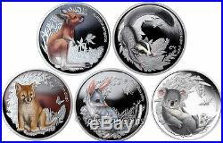 Australia 2010-2011 Bush Babies 5-Coin Complete Collection Pure Silver Proof Set