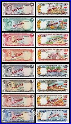 Bahamas Qeii Complete Specimen Set 1968 Rare All Notes Are Uncirculated