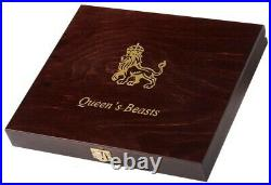 Britain 2 oz Queen's Beasts Complete Set (10 coins) with Wooden Display Case