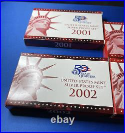 COMPLETE 2001-2004 US Mint Silver Proof Set with Box + COA USA Lot Of 4 Sets