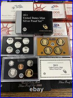 COMPLETE 29 UNITED STATES MINT Silver Proof Sets OGP With COA 1992-2020 2012 2011