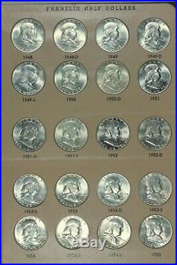 COMPLETE 35 pc SET OF BRILLIANT UNCIRCULATED FRANKLIN HALF DOLLARS BU 50c DANSCO