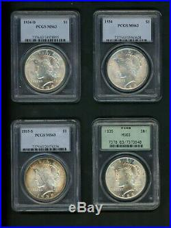COMPLETE MATCHED SET US Peace Silver Dollars $1.00 PCGS MS63 Choice UNC 24 Coins