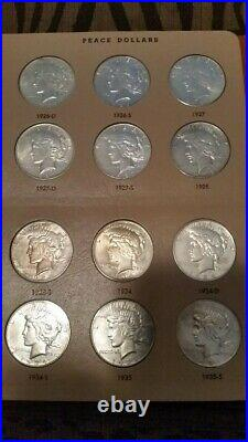 COMPLETE PEACE SILVER DOLLAR SET 1921-1935. Frosty Uncirculated