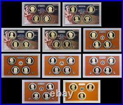 COMPLETE Presidential PROOF Dollar Mint (39 Coins Total) Set In Mint Lenses