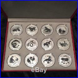 COMPLETE SET AUSTRALIA 1 OZ. SILVER LUNAR SERIES II 2 COINS 2008 2019 with PIG