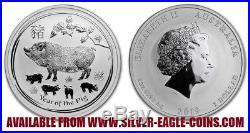 COMPLETE SET AUSTRALIA 1 OZ. SILVER LUNAR SERIES II 2 COINS 2008 2019 with PIG