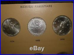 COMPLETE SET MEXICO SILVER 1oz. 999 LIBERTADS 1982 to 2019 IN DANSCO ALBUM UNC