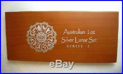 COMPLETE SET SERIES ONE Silver 1 oz Perth Mint Lunar Australia WITH WOODEN CASE
