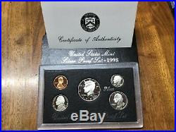 COMPLETE SET SILVER 90% PROOF SETS 35 TOTAL COINS 1992-1998 With COAs & BOXES