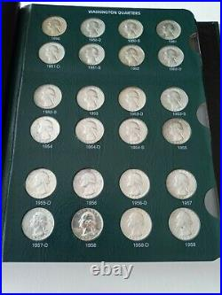 COMPLETE SET WASHINGTON 25c 1932-1998 All XF OR BETTER 186 COINS