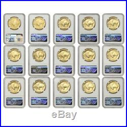 COMPLETE SET of 15 2006-2020 $50 Gold Buffalo NGC MS70 Early Releases ER Coins