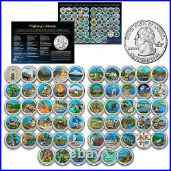 COMPLETE SET of ALL 56 America the Beautiful Parks Quarters Coin Set COLORIZED