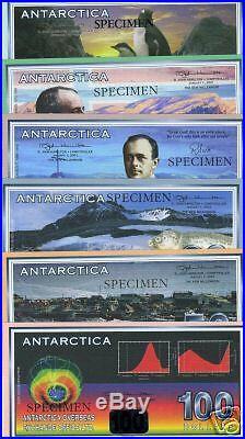 COMPLETE SPECIMEN SET, Antarctica, 2-5-10-20-50-100