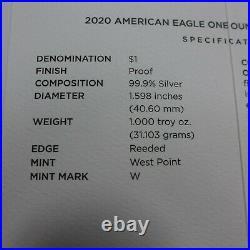 COMPLETE Set 1986-2020 American Silver Eagle Proof 1 Oz Box & COA 34 Pieces