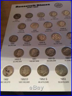 COMPLETE Set Silver Roos. Dimes(Circ, AU, BU)1946 1964 in Full Color EM Folder