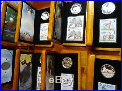 Canada Silver Proof Coin & Stamp Sets, complete series, lot of 8, coins, animals