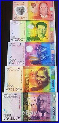 Cape (Cabo) Verde complete set of Escudos, 200, 500, 1000, 2000, 5000, 2014, UNC