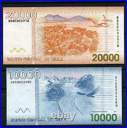 Chile $ 1000, 2000, 5000, 10000 & $ 20000 Complete set of Banknotes mint UNC