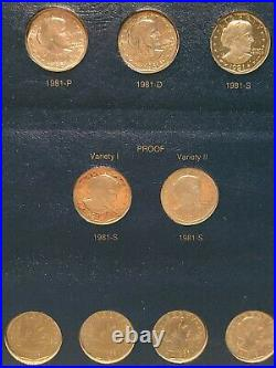 Complete 18 coin Susan B Anthony Dollar set including Proofs and Type 2 coins