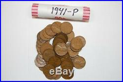 Complete 1940's Roll Set Wheat Lincoln Pennies Vintage Old Antique Cent Coins