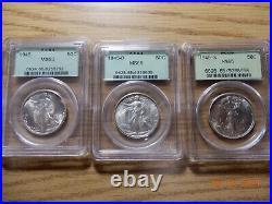 Complete 1941-1947 20pc Walking Liberty Half Dollar Short Set PCGS MS-65 OGH/BH
