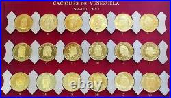 Complete 1959 Gold Venezuela 18 Coin 7.81 Oz Caciques Set Indian Chiefs In Case