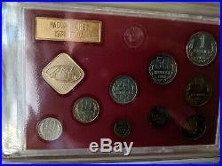 Complete 1974-1980 Russia USSR CCCP Soviet Leningrad 9 Coin Mint prooflike Sets