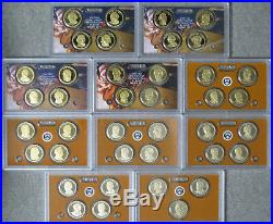 Complete 2007 thru 2016 Proof Presidential Dollar Set in Orig Government Holders