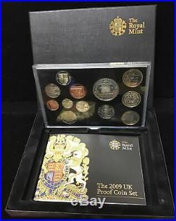 Complete 2009 UK 12 Coin PROOF SET Coa/Box withKew Garden 50p RARE Great Britain