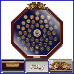 Complete 24k Gold Plated State Quarter Set in a stunning Wood Octagonal Frame